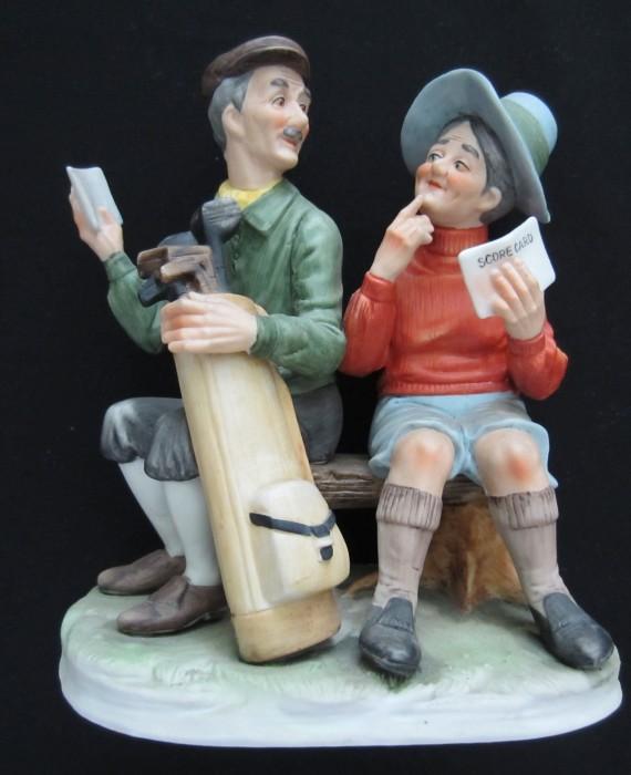 Vintage Lefton Porcelain Golfing Couple Sitting on Bench Keeping Score