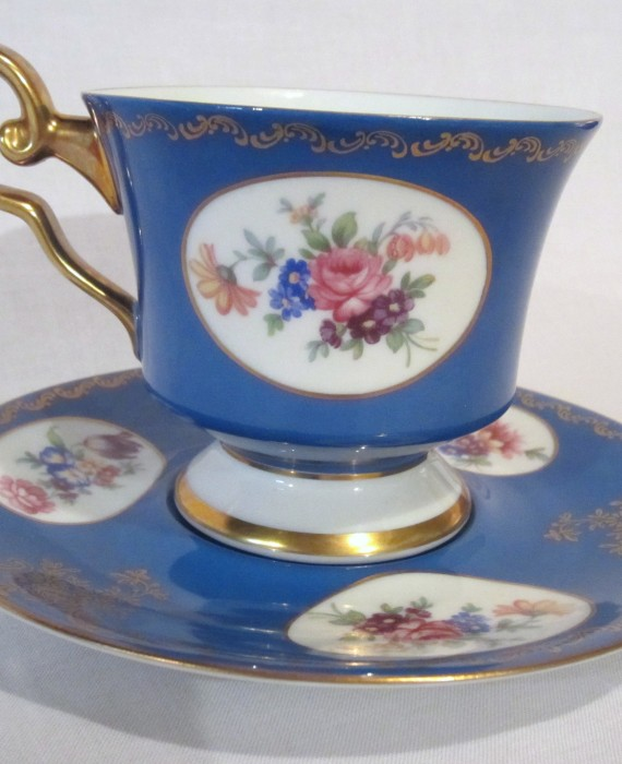 Jaegar & Company Germany Royal Blue w/Flower's Cup & Saucer