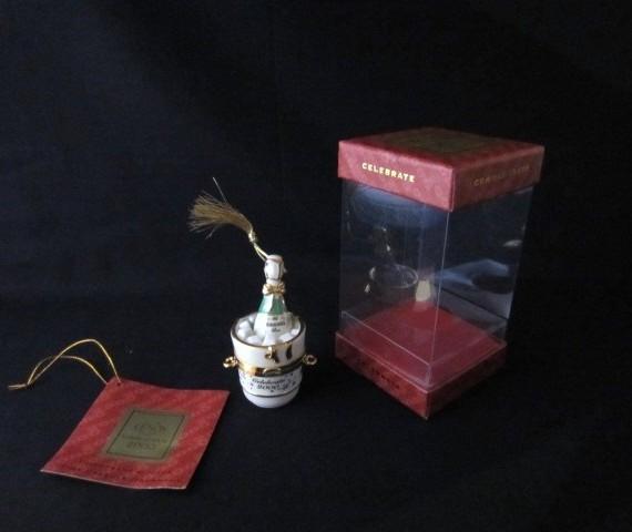 Lenox Commemorate Celebrate 2000 Korbell Champagne Ornament