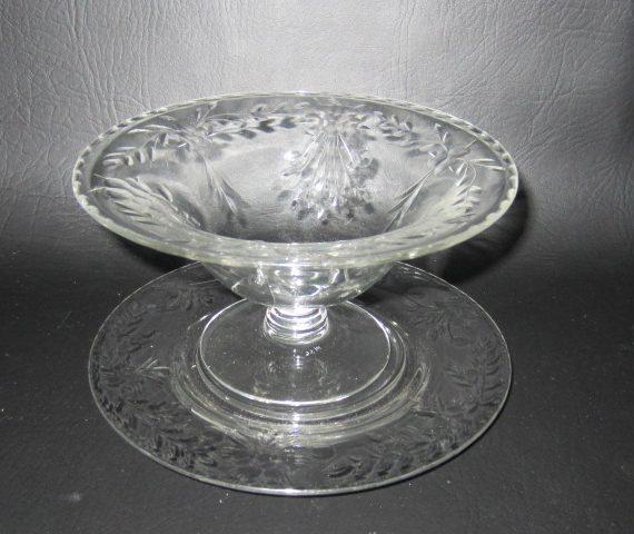 Vintage Etched Pedestal Glass Dessert Bowl with Saucer