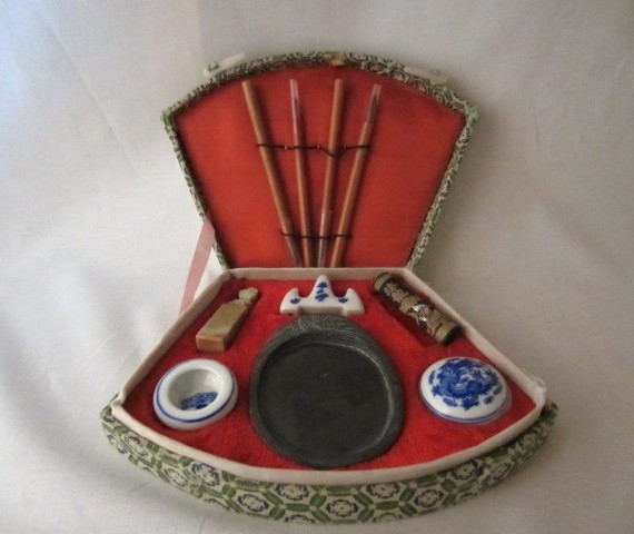 Vintage Chinese Calligraphy Paint Set in Fabric Case
