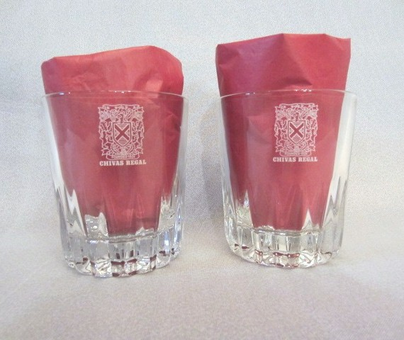 Chivas Regal Etched Whiskey Low Ball Glasses