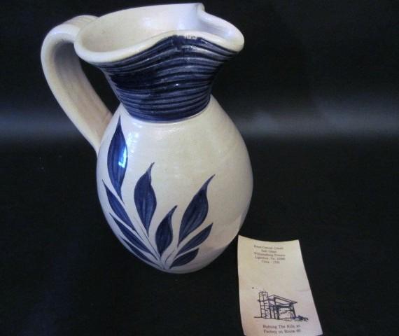 Williamsburg Pottery Cobalt Salt Glaze Pitcher
