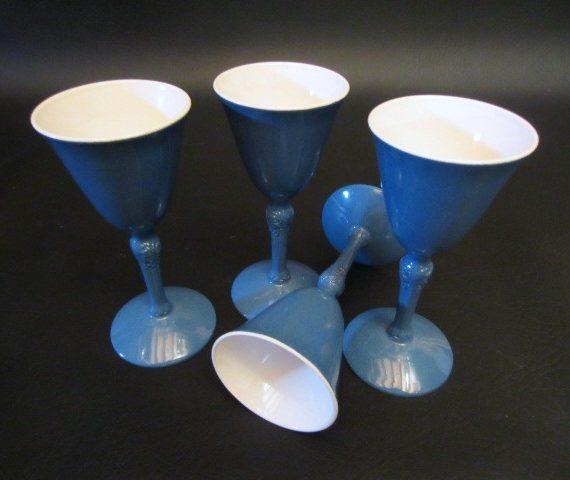Blue Enamelware Cordial Porcelin Brand Spain Glasses