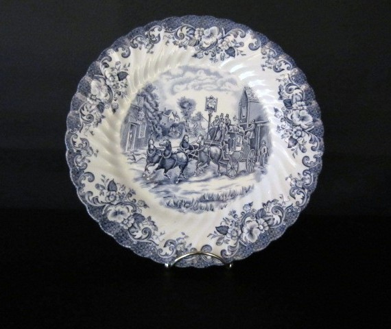 "Johnson Brothers Blue & White ""Stoke – On - Trent"" Coaching Scenes Dinner Plate"