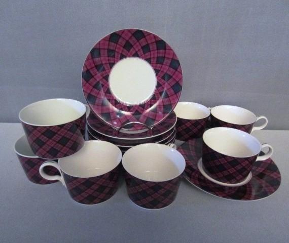 Arita Sasaki China Tartan Plaid Cups and Saucers