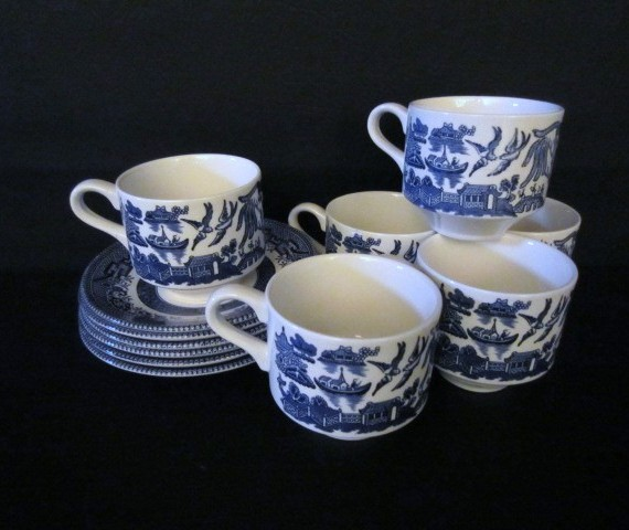 Churchill Blue Willow Made in England Cup and Saucer