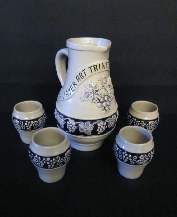 German Staffel Stoneware Embossed Wine Beer Pitcher Stein with 4 cups