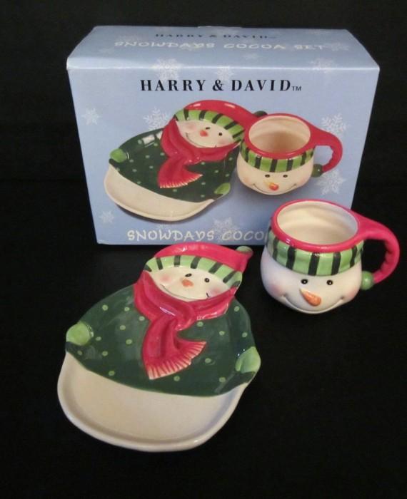 Harry and David Snowdays Cocoa Set Snowman Mug and Plate