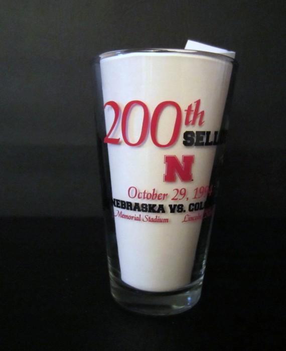 Nebraska Huskers Cornhuskers Football 200th Consecutive Sellout Glass