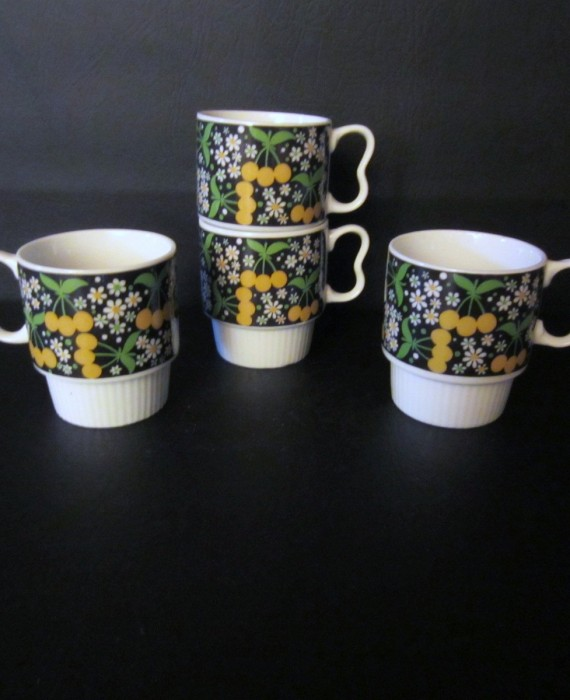 Vintage Nevco Japan Black Yellow White Daisy Yellow Cherry Cups