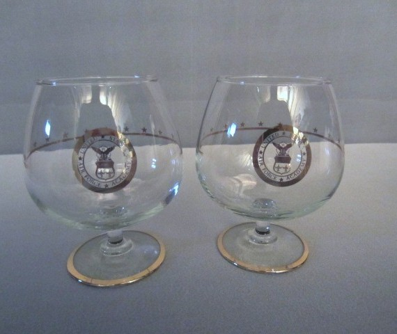 United States Air Force Academy Gold Brandy Snifter Glasses RARE