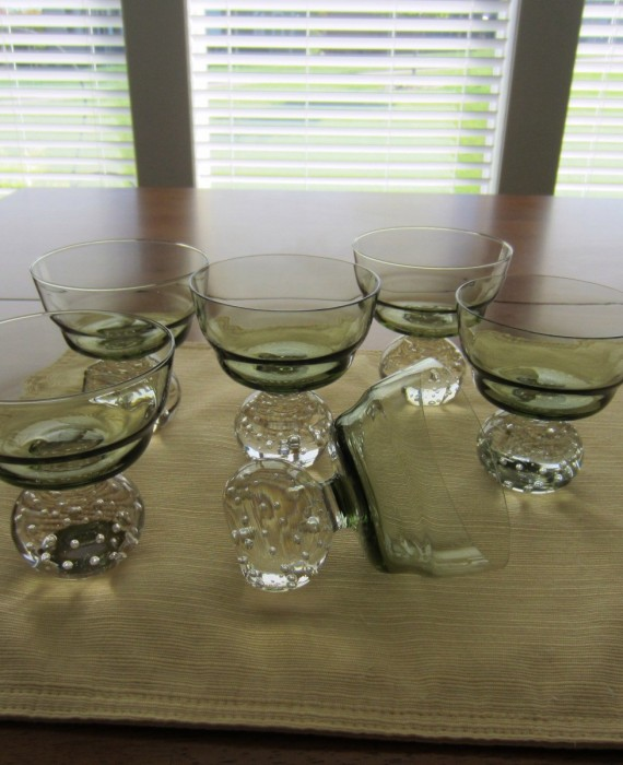 Portugal Crystal Raindrop Pale Green Un Controlled Bubble Champagne Sherbet Glasses