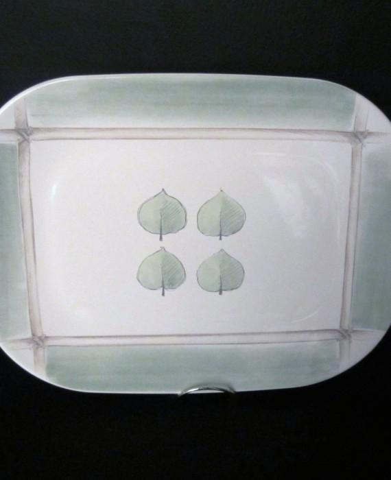 Pfaltzgraff Arborwood Aspen Green and White Leaf Platter