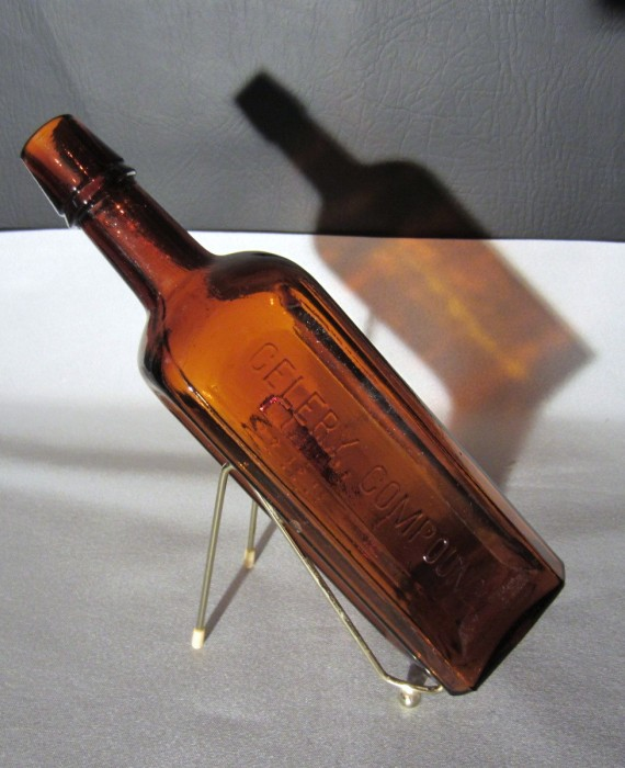 Antique Paines Celery Compound Brown Amber Glass Bottle