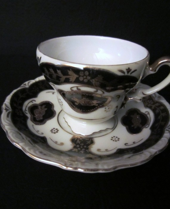 Vintage Black Raised Gold Ucagco Demitasse Cup and Saucer Set