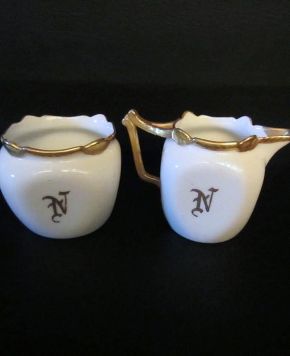 Favorite Bavaria Vintage White Gold Square Cream & Sugar
