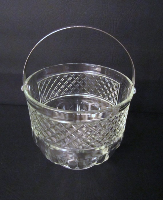 Vintage Glass Ice Bucket with Silver Detachable Handle