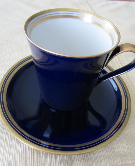Koransha Deep Blue and Gold Cup and Saucer