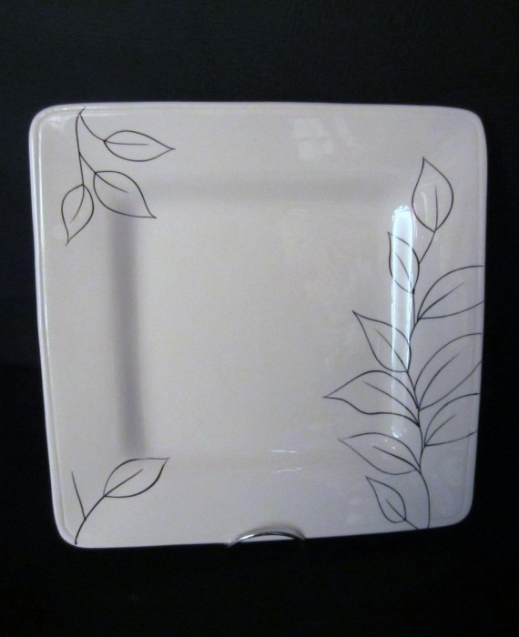Laurie Gates Antilles White Body Black Floral Square Dinner Plate