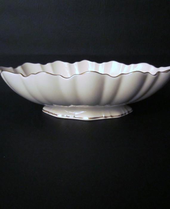 Lenox Symphony Ivory & Gold Scalloped Oval Centerpiece Bowl