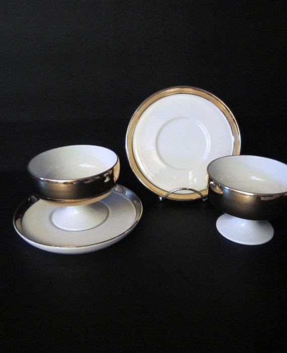 2 Beautiful Fitz & Floyd for Sakowitz Gold White Sherbet Dessert Cups with Plates
