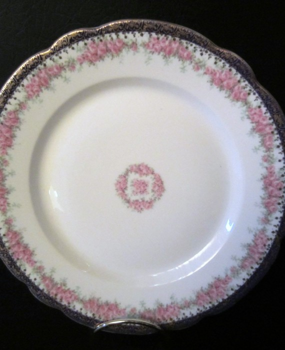 Vintage Wittlesbach Germany Blue Gold Rim Pink Rose's Plate