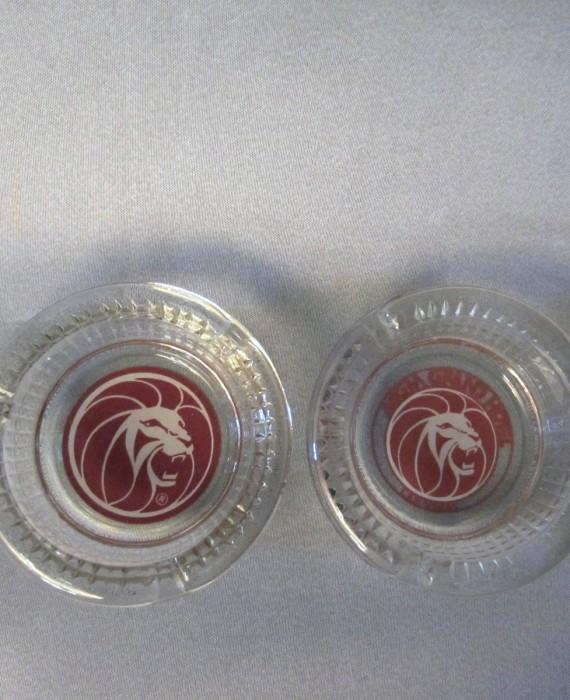 MGM Grand Las Vegas Hotel Glass Lion Ashtrays