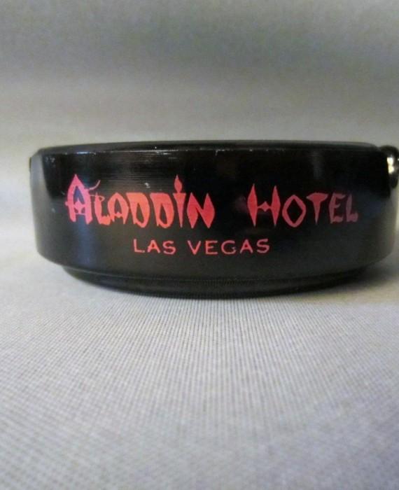 Aladdin Hotel Las Vegas Black Dark Amber Red letters Ashtray