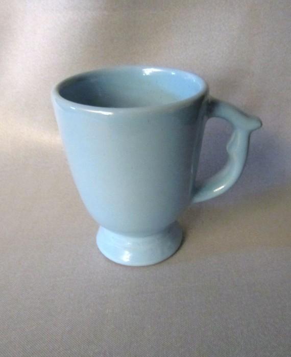Robin Egg Blue Pottery Footed Pedestal Mug