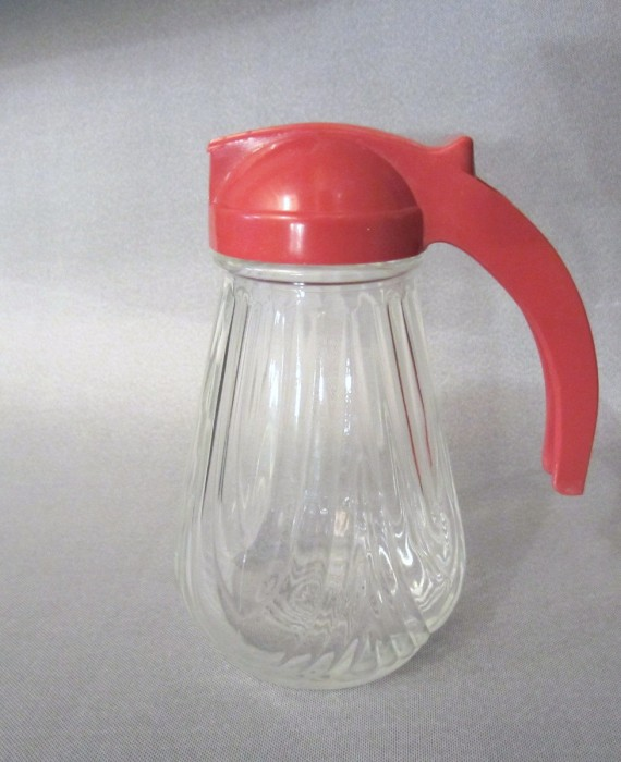 Vintage Retro Red 40s 50s Federal Tool Red Lid Glass Base Syrup Dispenser Pitcher