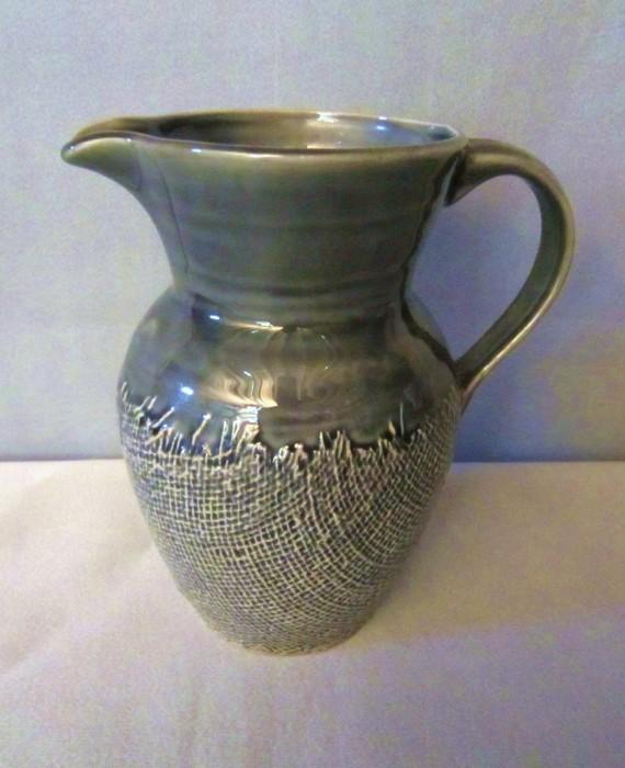 222 Fifth Craft Stoneware Grey Green Textured Pitcher