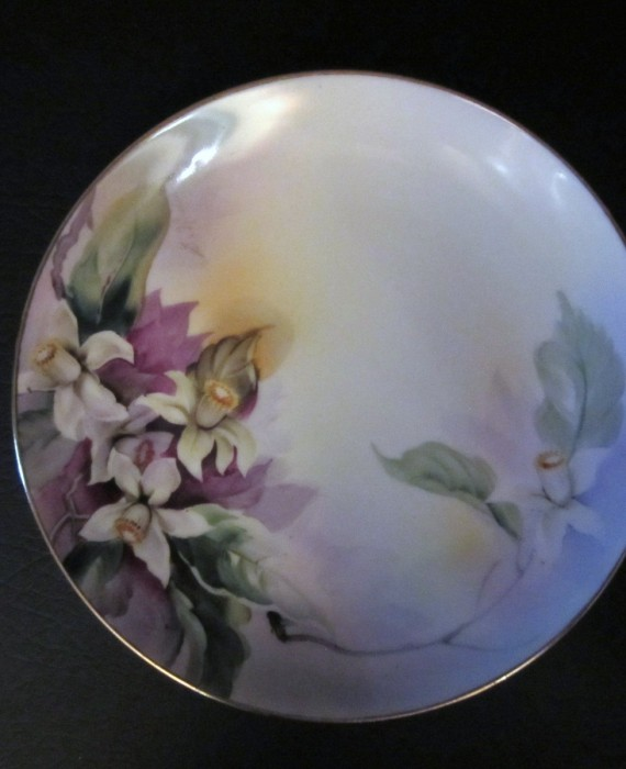 Nippon Noritake M Signed Hand Painted Purple White Daffodil Plate