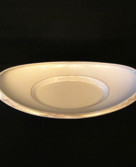 Lenox China USA Gold Oblong Footed Oval Bread Dish Tray