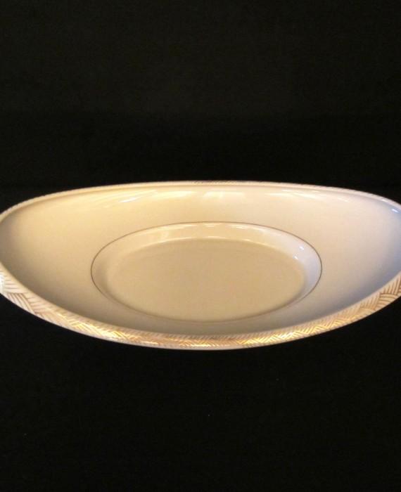 Lenox China USA Gold Oblong Footed Oval Bread Dish Tray