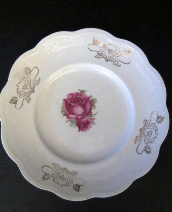 Antique Royal Firenze China Italy Pink Rose Gold Filigree Embossed Salad Plate