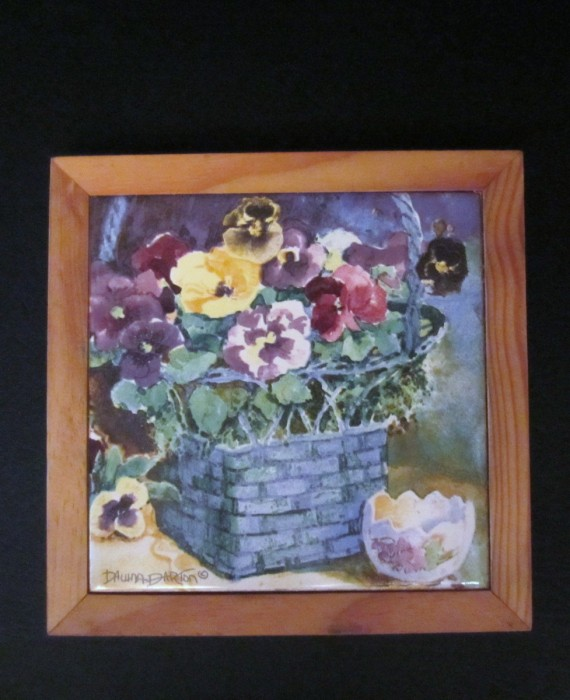 Dawna Barton Pansy's Flower Tile Trivet Wall Hanging