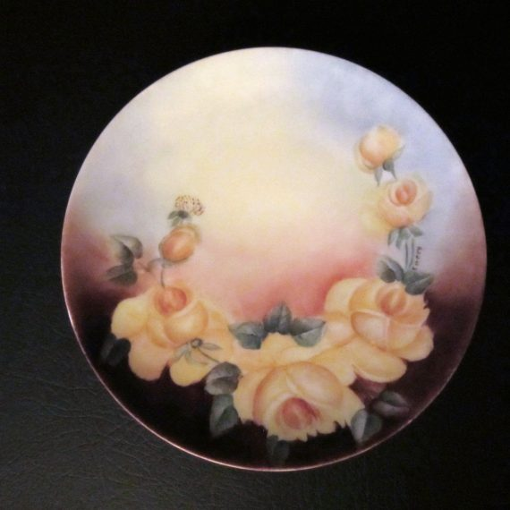 Thomas Sevres Bavaria Hand Painted Signed Yellow Roses Plate