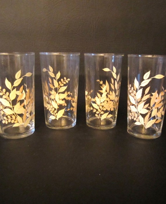 Retro Libbey Beige Tan Leaf Fern Tumbler Glasses