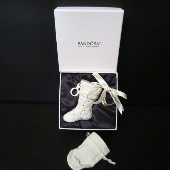 Pandora 2012 White Stocking Boot Christmas Ornament