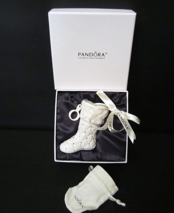 Pandora 2012 White Stocking Boot Christmas Ornament