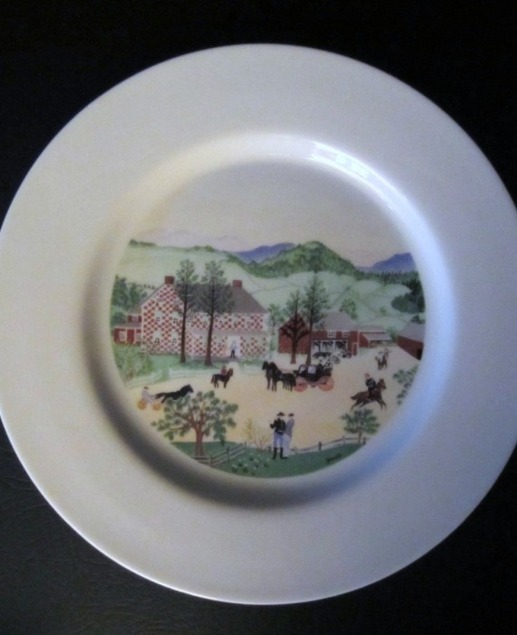 Grandma Moses The Red Checkered House Limited Edition Atlas China Plate