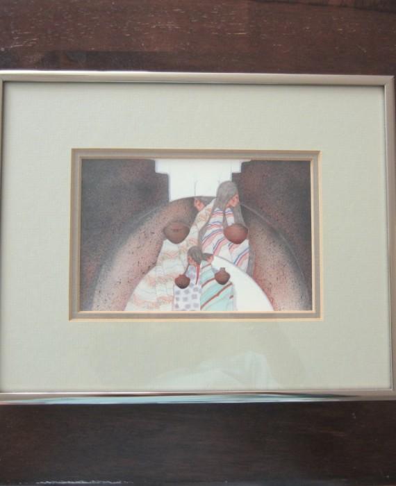 Amado M Pena, Jr Dos Familias Double Matted Silver Nielsen Framed Print