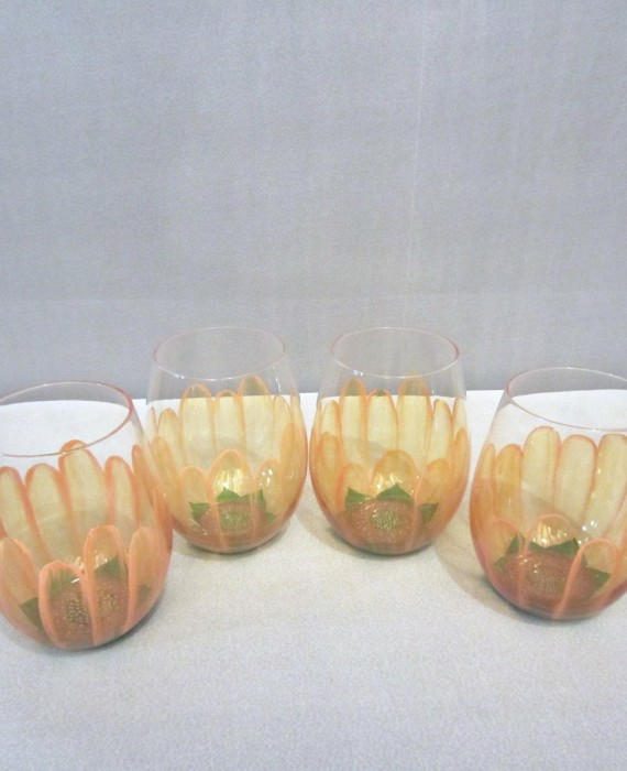 Pier 1 Hand Painted Peach Floral Stemless Wine Glasses
