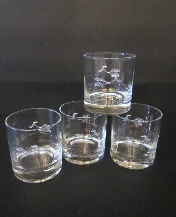 1960's Plymouth Roadrunner 8 oz Low ball Glasses Executive Exclusive VERY RARE
