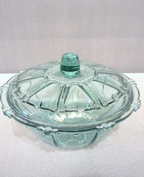 Imperial Glass Federal Glass Beaded Aqua Teal Candy Dish