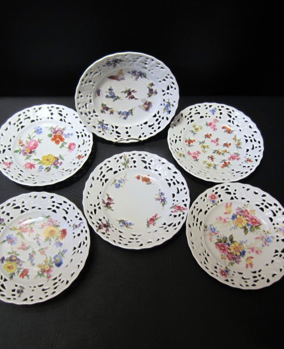 Ackermann Bavaria Porzellan Pierced Scalloped Embossed Floral Plates