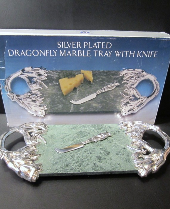 Godinger Silver Art Marble Tray Knife Butterflies Dragonfly Flowers Cheese Tray