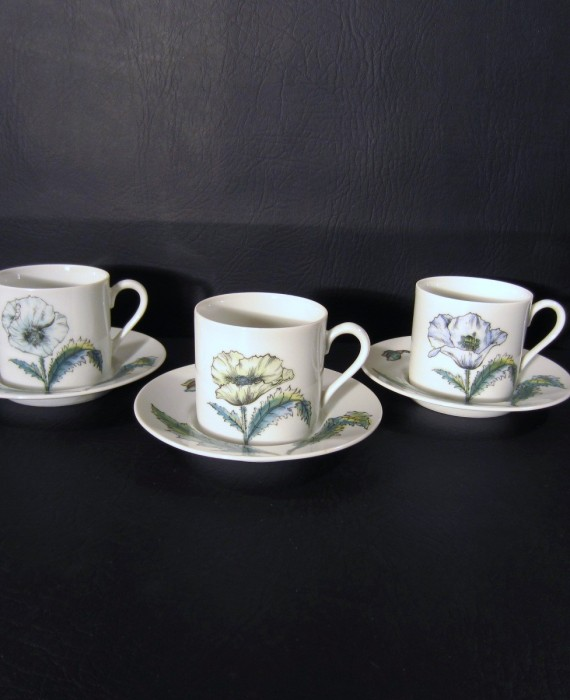 Taste Setter Collection TAS 9 Poppy Floral Demitasse Cups and Saucers