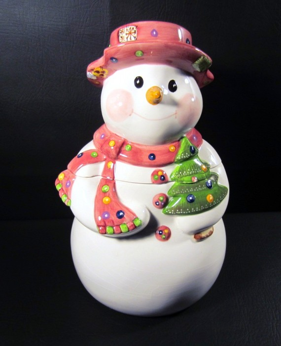 Vintage Los Angeles Pottery Laurie Gates Design Snowman Cookie Jar